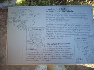 America's First Battle of World War II: The Philippines Marker image. Click for full size.