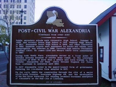 Post-Civil War Alexandria Marker (Side B) Photo, Click for full size