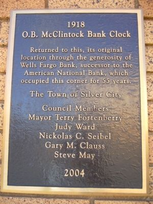 O.B. McClintock Bank Clock Marker image. Click for full size.