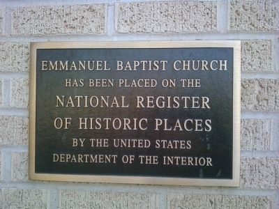 Emmanuel Baptist Church NRHP plaque image. Click for full size.