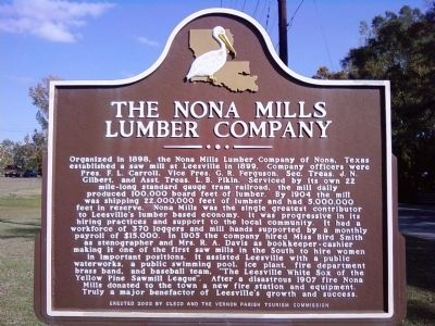 The Nona Mills Lumber Company Marker image. Click for full size.
