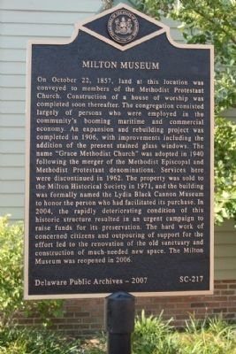 Milton Museum Marker image. Click for full size.