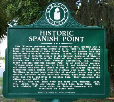 Historic Spanish Point Marker image. Click for full size.