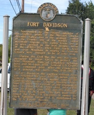 Fort Davidson Marker - Front image. Click for full size.