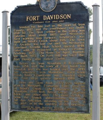 Fort Davidson Marker - Back image. Click for full size.