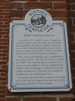 Bethel Lutheran Church Marker image. Click for full size.
