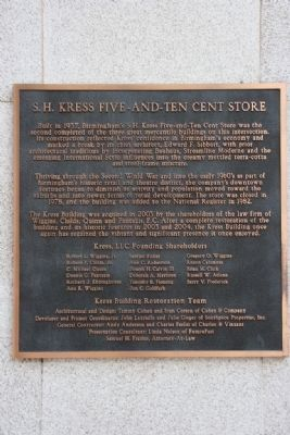S. H. Kress Five-And-Ten Cent Store Marker image. Click for full size.