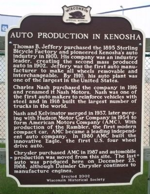 Auto Production in Kenosha Marker image, Click for more information