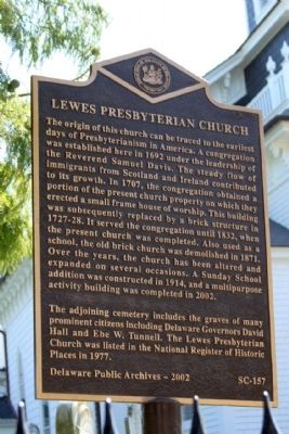 Lewes Presbyterian Church Marker image. Click for full size.