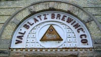 Valentin Blatz Brewing Co. Logo on Brewery Photo, Click for full size