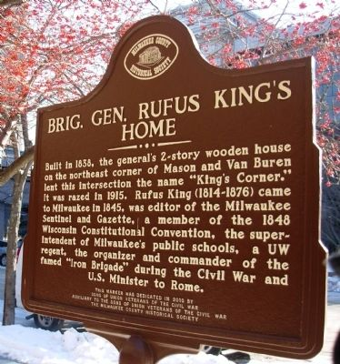 Brig. Gen. Rufus King's Home Marker image. Click for full size.