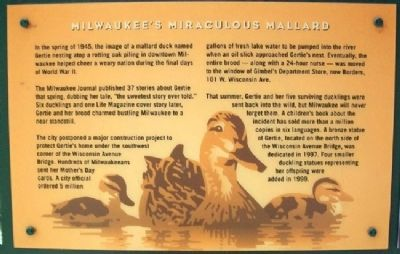 Milwaukee's Miraculous Mallard Marker image. Click for full size.