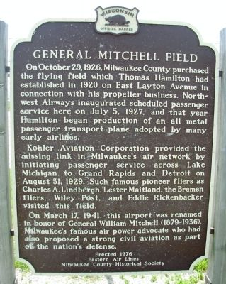 General Mitchell Field Marker image. Click for full size.