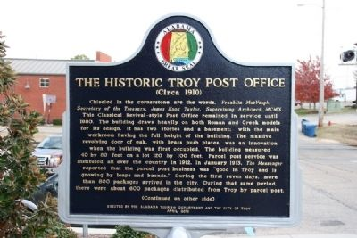 The Historic Troy Post Office Marker (Side A) image. Click for full size.