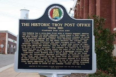The Historic Troy Post Office Marker (Side B) image. Click for full size.