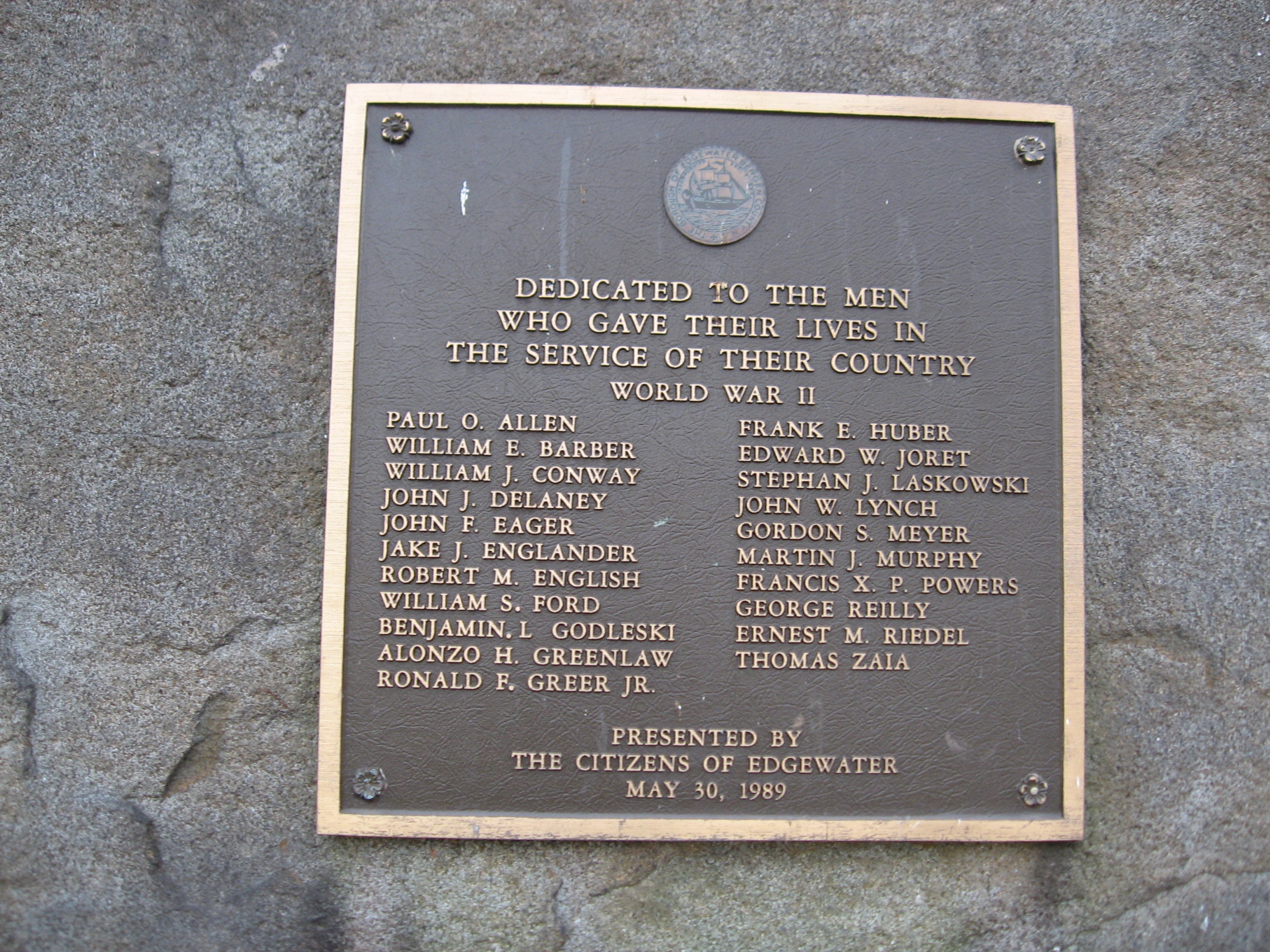 World War II Plaque on Back