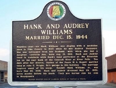 Hank and Audrey Williams Marker - Side B image. Click for full size.