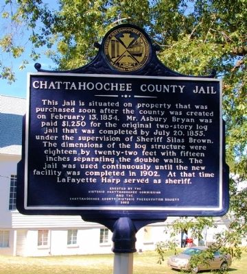 Chattahoochee County Jail Marker, Side 1 image. Click for full size.