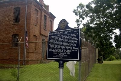 Chattahoochee County Jail and Marker image. Click for full size.