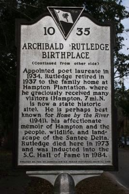 Archibald Rutledge Birthplace Marker - Side B image. Click for full size.