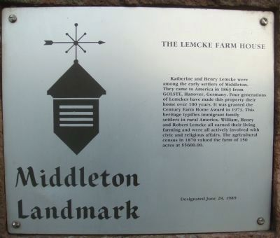 The Lemcke Farm House Marker image. Click for full size.
