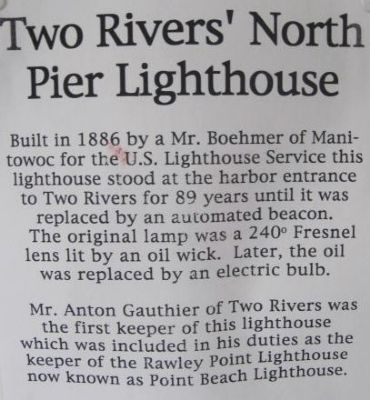 Two Rivers' North Pier Lighthouse Marker image. Click for full size.