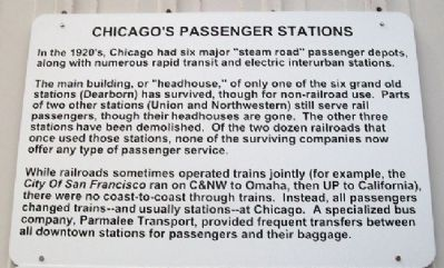 Chicago's Passenger Stations Marker image. Click for full size.