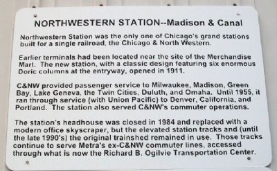 Chicago's Northwestern Station Marker image. Click for full size.