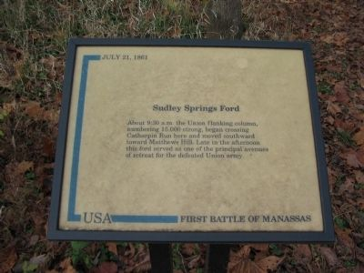 Sudley Springs Ford Marker Photo, Click for full size