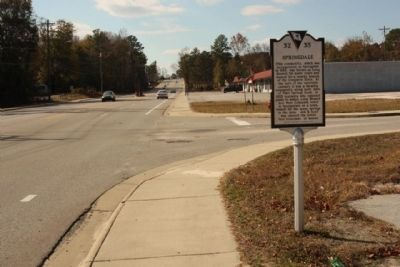 Springdale Marker, looking west at Platt Springs Road and Springdale Road intersection image. Click for full size.