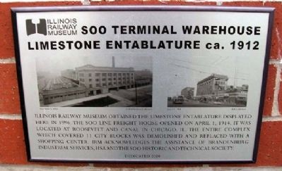 Soo Terminal Warehouse Limestone Entablature ca. 1912 Marker image. Click for full size.