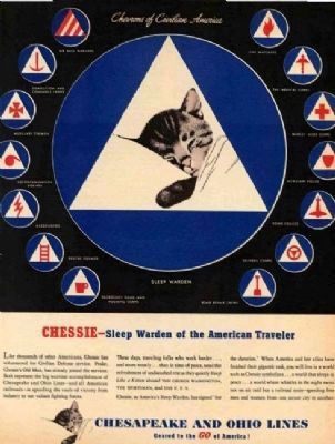 WWII-era Chessie Cat Advertisement image. Click for full size.