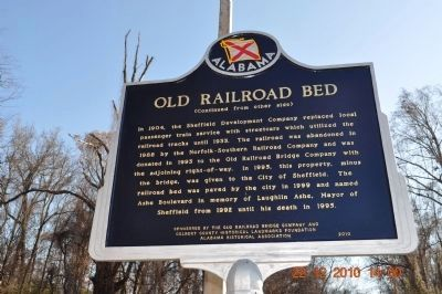 Old Railroad Bed Marker - Side B image. Click for full size.
