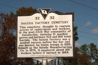 Saluda Factory Cemetery Marker Photo, Click for full size