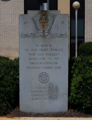 Laurens County Veterans Monument Marker image. Click for full size.