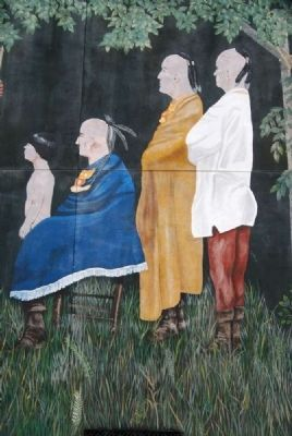 Saluda Old Town Treaty, July 2, 1755 Mural - Child Witness and Cherokee Chiefs image. Click for full size.