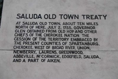 Saluda Old Town Treaty, July 2, 1755 Inscription image. Click for full size.