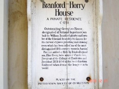 Branford-Horry House Marker image. Click for full size.