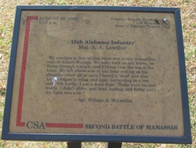 15th Alabama Infantry Marker image. Click for full size.