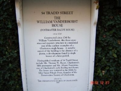 The William Vanderhorst House Marker Photo, Click for full size