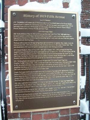 History of 1819 Fifth Avenue Marker Photo, Click for full size