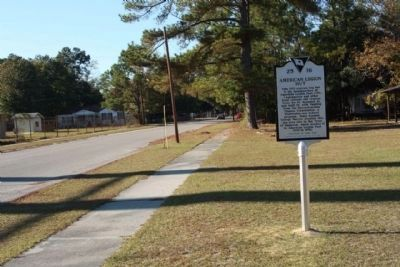 American Legion Hut Marker, seen looking northwest along Jackson Avenue image. Click for full size.