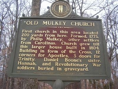 Old Mulkey Church Marker image. Click for full size.