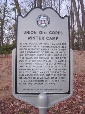 Union XIIth Corps Winter Camp Marker image. Click for full size.