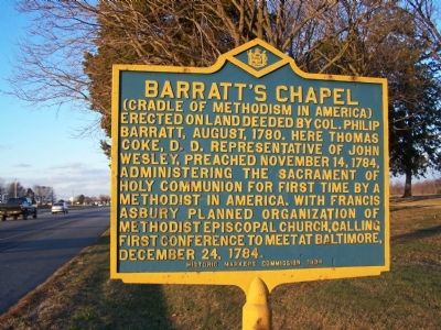 Barratt's Chapel Marker Photo, Click for full size