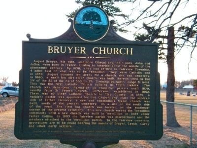Bruyer Church Marker image. Click for full size.