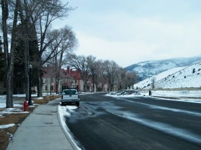 Unnamed road looking south at Fort Yellowstone buildings image. Click for full size.