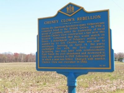 Cheney Clow's Rebellion Marker image. Click for full size.