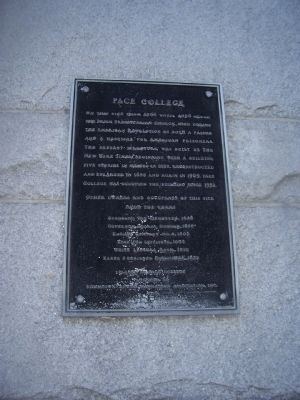 Pace College Marker image. Click for full size.