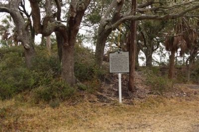 Battery Haskell Marker, with a part of the remaining earthworks image. Click for full size.